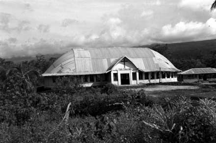Asau Congregational Church, Savaii  the last `hybrid' church architecture of the `old style' left in Samoa, also the last major building before you cross into wilderness territory.